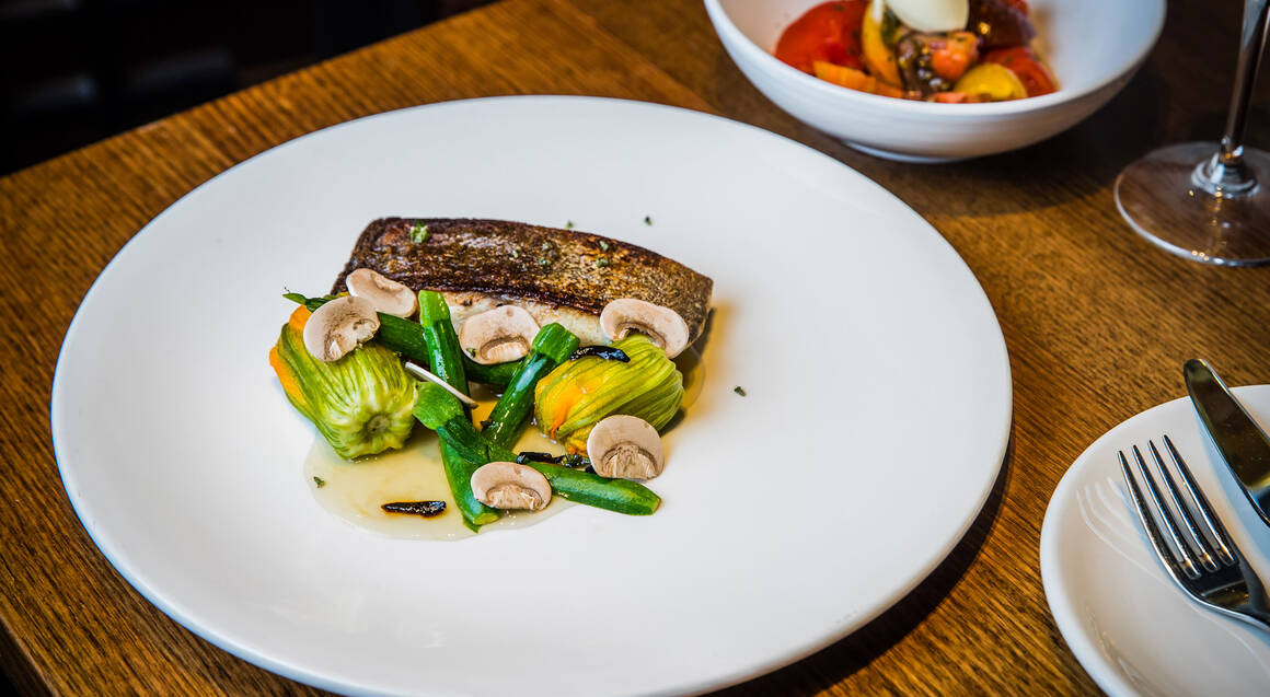 barramundi with brussel sprouts mushroom and zucchini