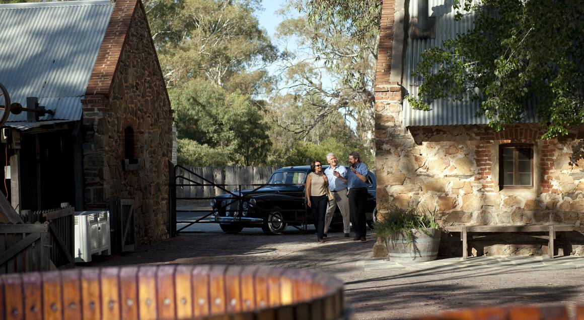 Barossa Valley Daimler Tours Vintners couple visiting Rockford winery