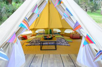 Glamping tent in the Mornington Peninsula