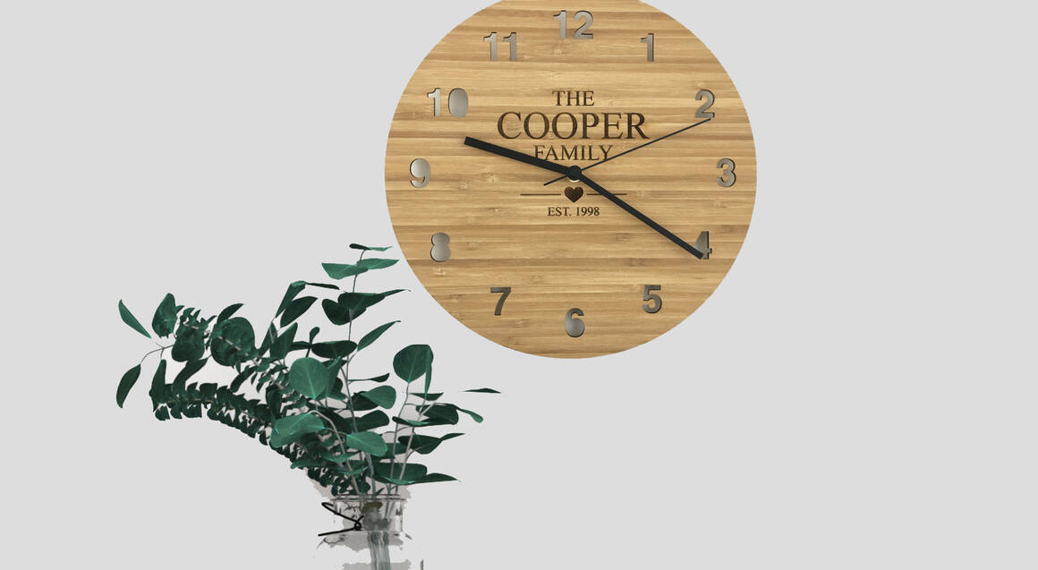 Personalised Bamboo Clock with Family Name