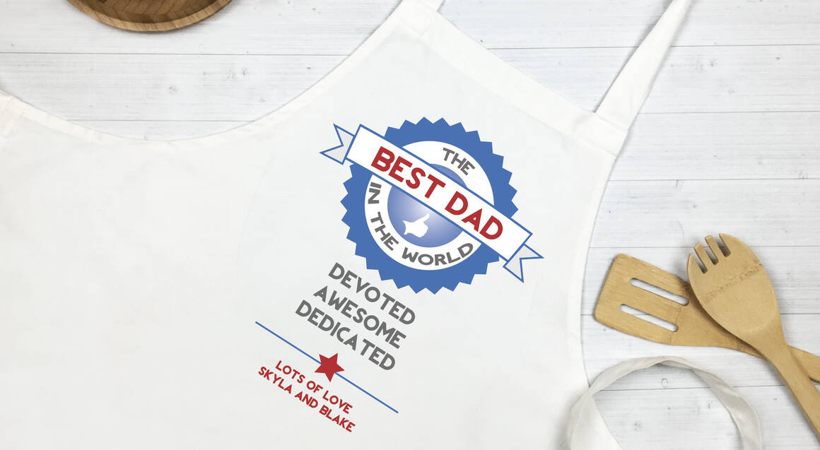 """Personalised """"Best Dad in the World"""" Apron"""