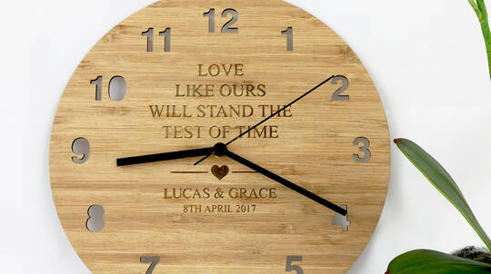 """Love Like Ours"" Personalised Bamboo Clock"
