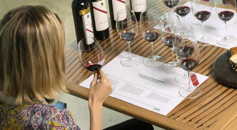 woman tasting dead arm shiraz wine at tasting masterclass