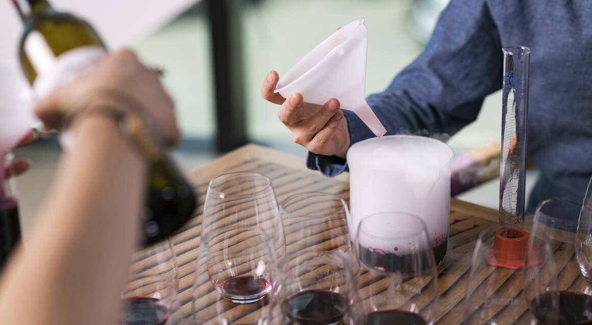 two people blending red wine at d'arenberg winery
