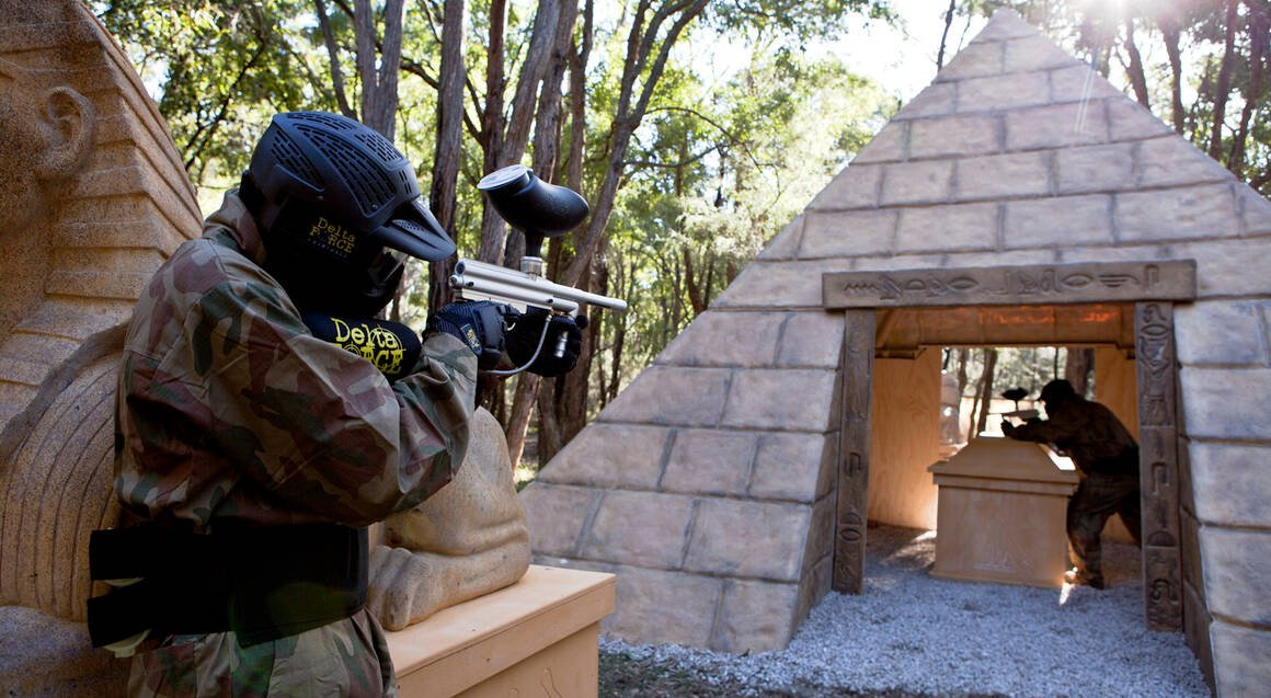 Delta Force Paintball people playing paintball tomb