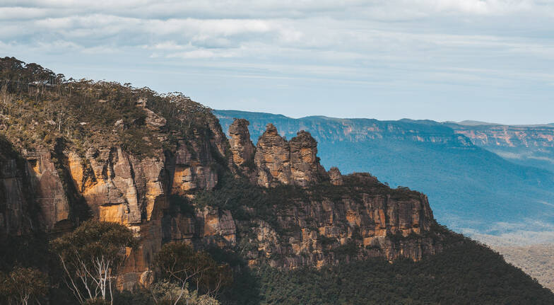 view of blue mountains region with bushland and cliff rock landscape