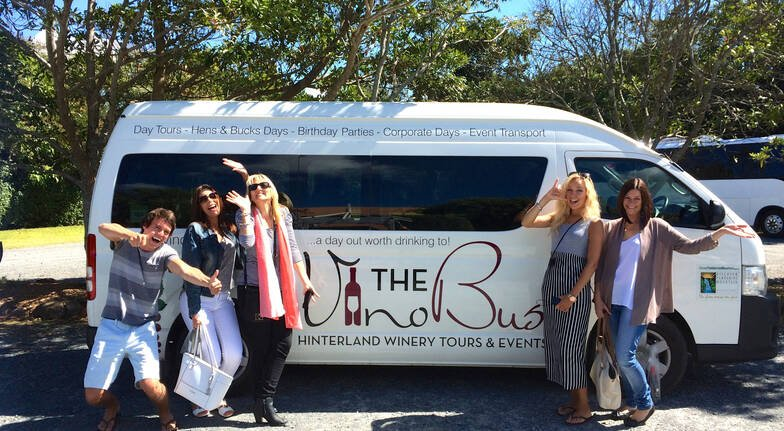 group of people on winery bus tour