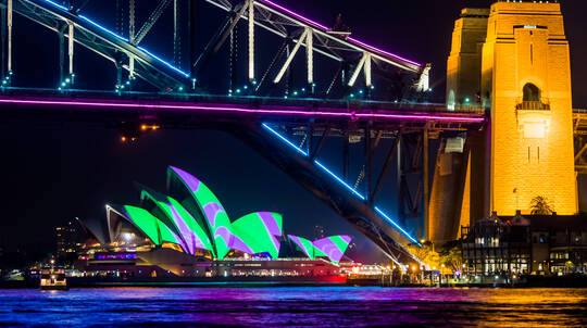 Vivid Sydney Harbour BYO Catamaran Cruise with Snacks