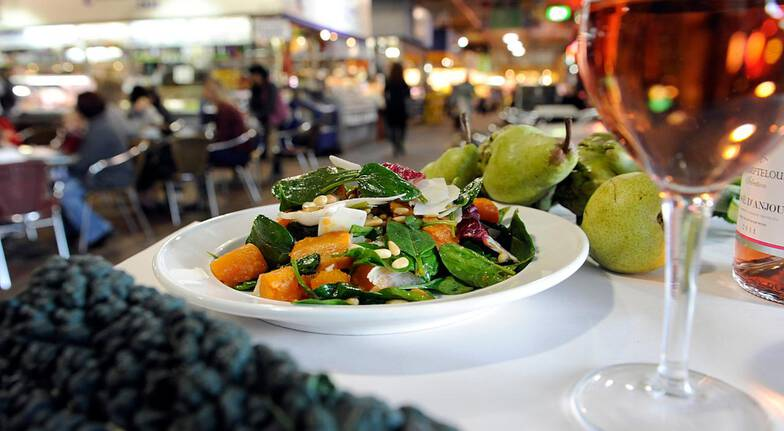 Central Market Tours pumpkin spinach salad glass of wine rose