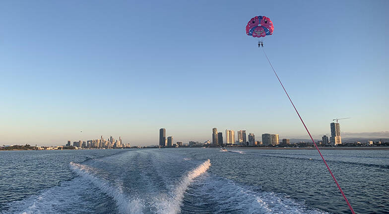 Gold Coast Tandem Parasail and V8 Jet Boat Combo  For 2