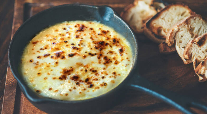 hot cheese dip with grilled flatbread