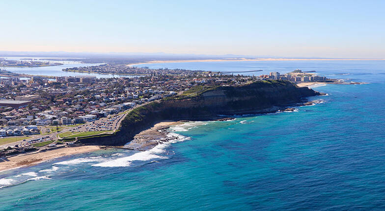 Helicopter Flight over Newcastle City and Coastline