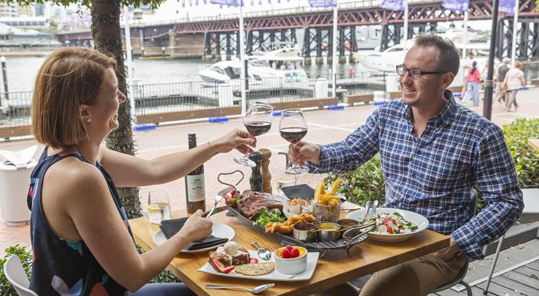 Indulgent Steakhouse Platter and Wine by the Harbour  For 2