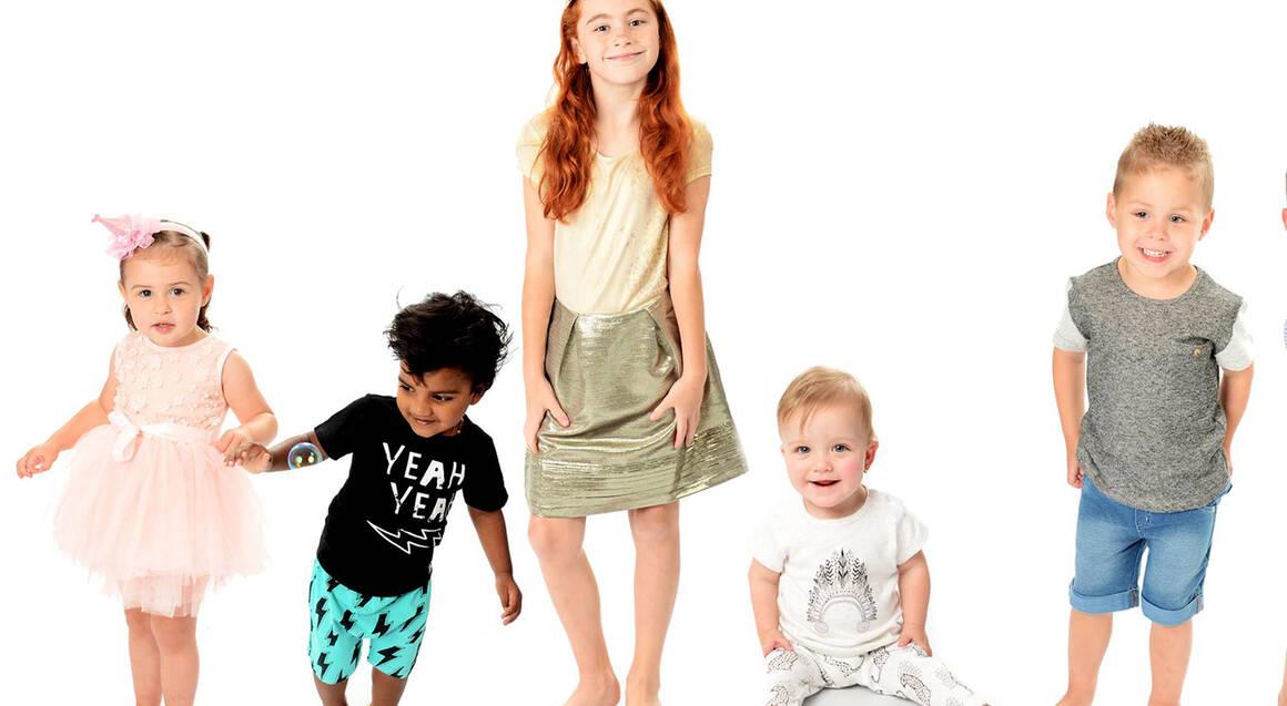 children posing for professional photo shoot