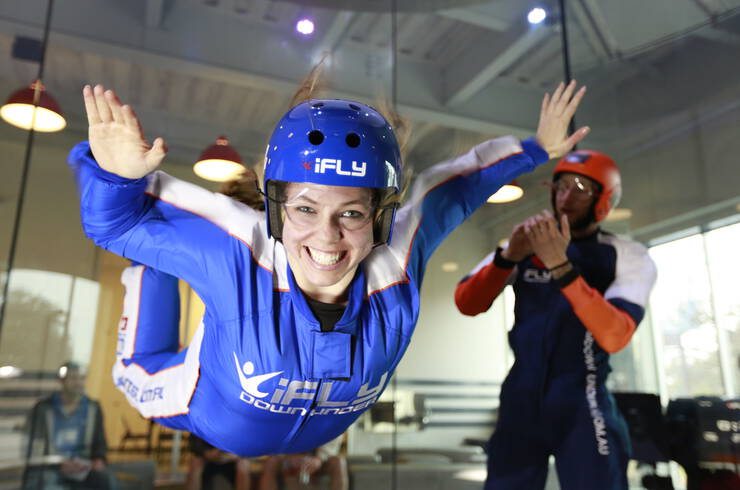 Woman indoor skydiving