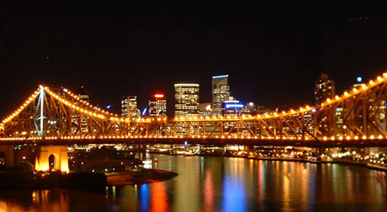 Kangaroo Segway Tours view of brisbane city skyline and river at night luminous lights