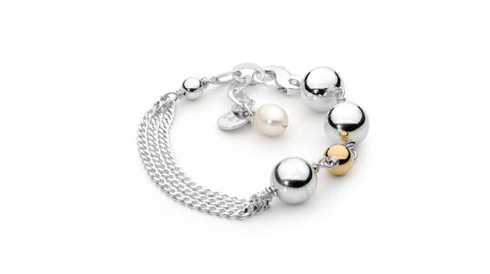 Sterling Silver Ball Bracelet with 14kt Gold Fill and Pearl