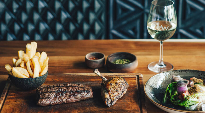 2 Course Steakhouse Lunch with Wine or Beer  For 2