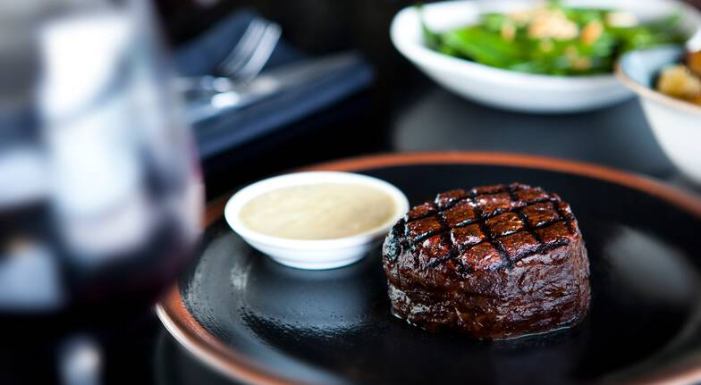 2 Course Steakhouse Dinner with Wine and Vivid Cocktails