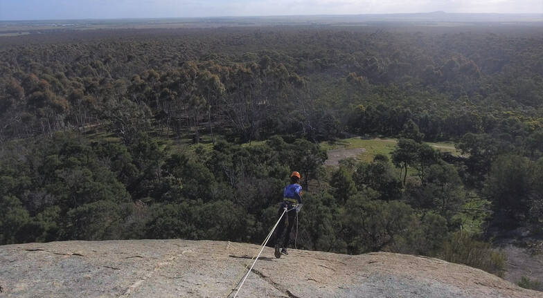 rap running woman in safety harness attached to ropes wearing a helmet and blue top running off a cliff face with bushland below her