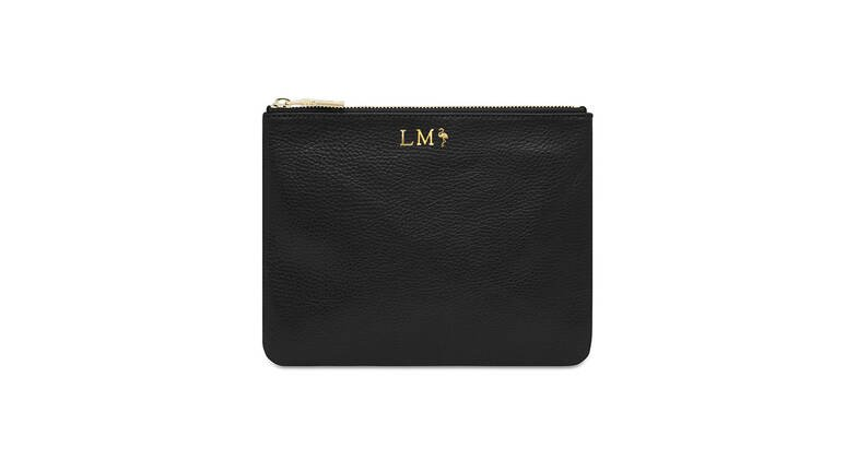 Mon Purse Monogrammed Grainy Leather Pouch - Black