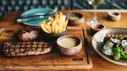 2 Course Steakhouse Dinner with Bottle of Wine - For 2