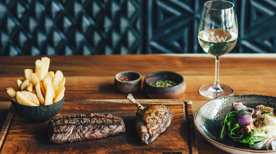 2 Course Steakhouse Lunch with Wine or Beer - For 2
