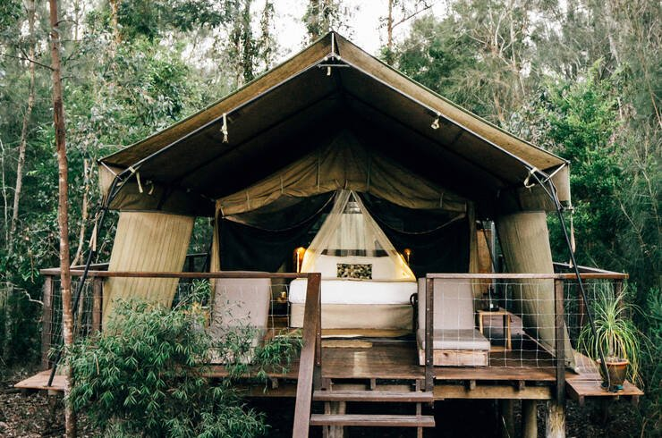 Glamping tent in Jervis Bay