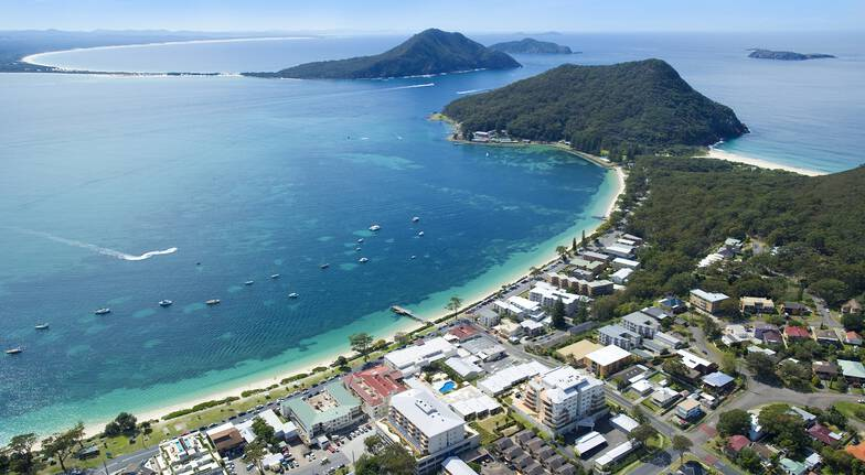 aerial view of port stephens beach and town