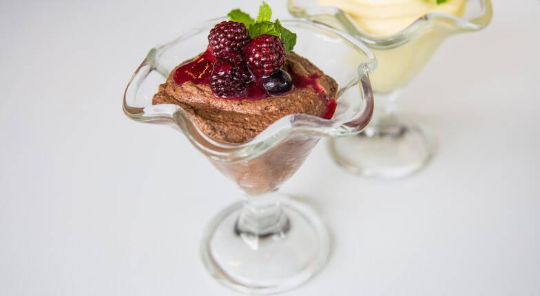 sorbet in dessert glass with fresh fruit