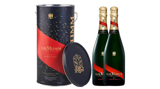 2 G.H. Mumm Cordon Rouge Champagnes with Ice Bucket