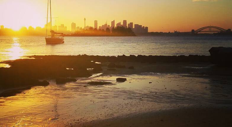 watsons bay beach view of sydney city at sunset