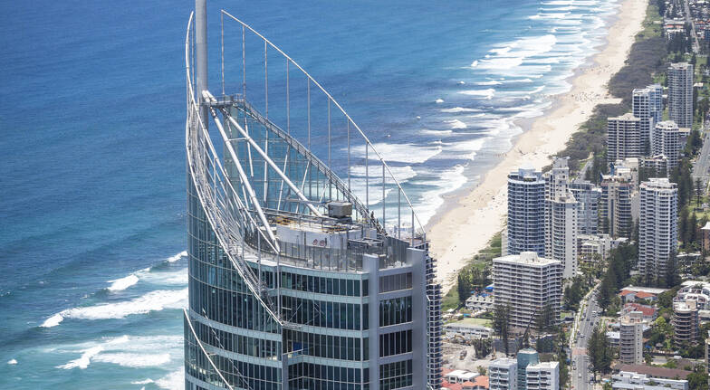 aerial view of Q1 tower with view of gold coast beach