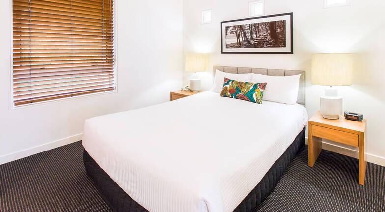 The Sebel Resort Noosa one bedroom apartment bed