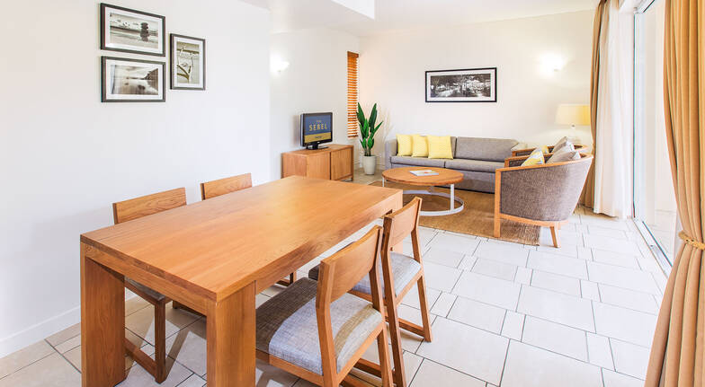 The Sebel Resort Noosa one bedroom apartment living room and dining