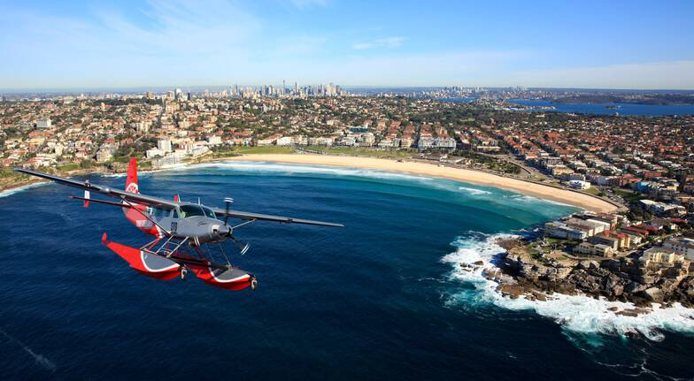 Seaplane with aerial views of sydney