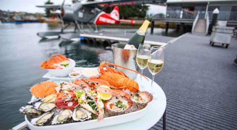 sydney seaplane seafood platter and champagne