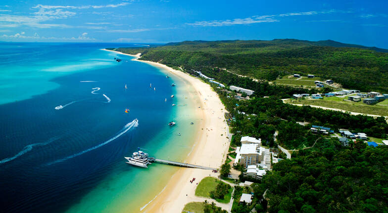 aerial view of the coastline on Moreton Island