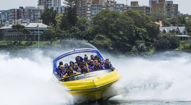 Thunder Jet Boat group riding on sydney harbour