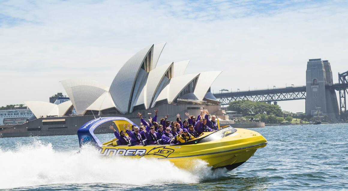 Thunder Jet Boat ride sydney harbour passing opera house