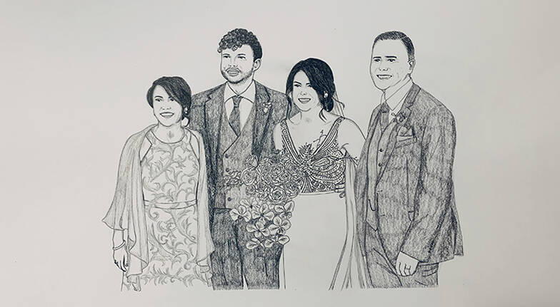 Personalised Hand Drawn Portrait  A4