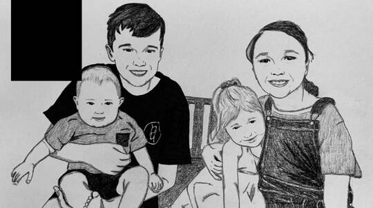 Personalised Hand Drawn Portrait - A4 - Up to 8 Participants