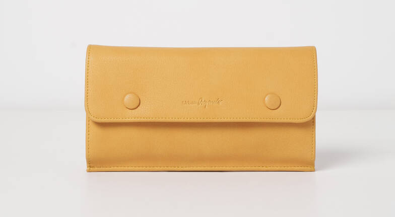 Vegan Leather Button Wallet