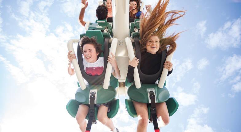 Warner Bros Movie World Gold Coast family on ride upside down