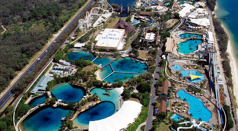 aerial view of sea world gold coast