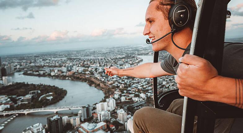 Brisbane City Doors Off Helicopter Flight  For 3