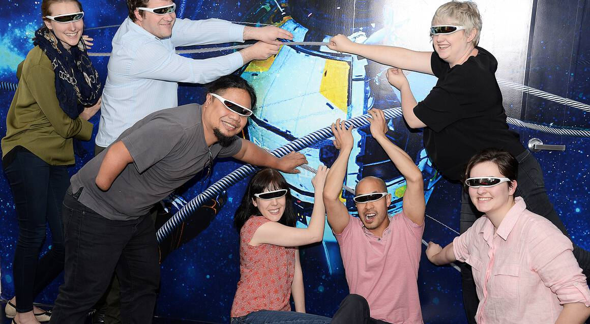 Virtual Reality Rooms Sydney group wearing virtual reality glasses