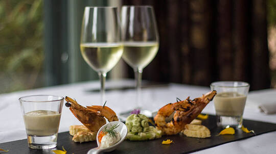 3 Course Lunch or Dinner with Wine and Trio Pack - For 2