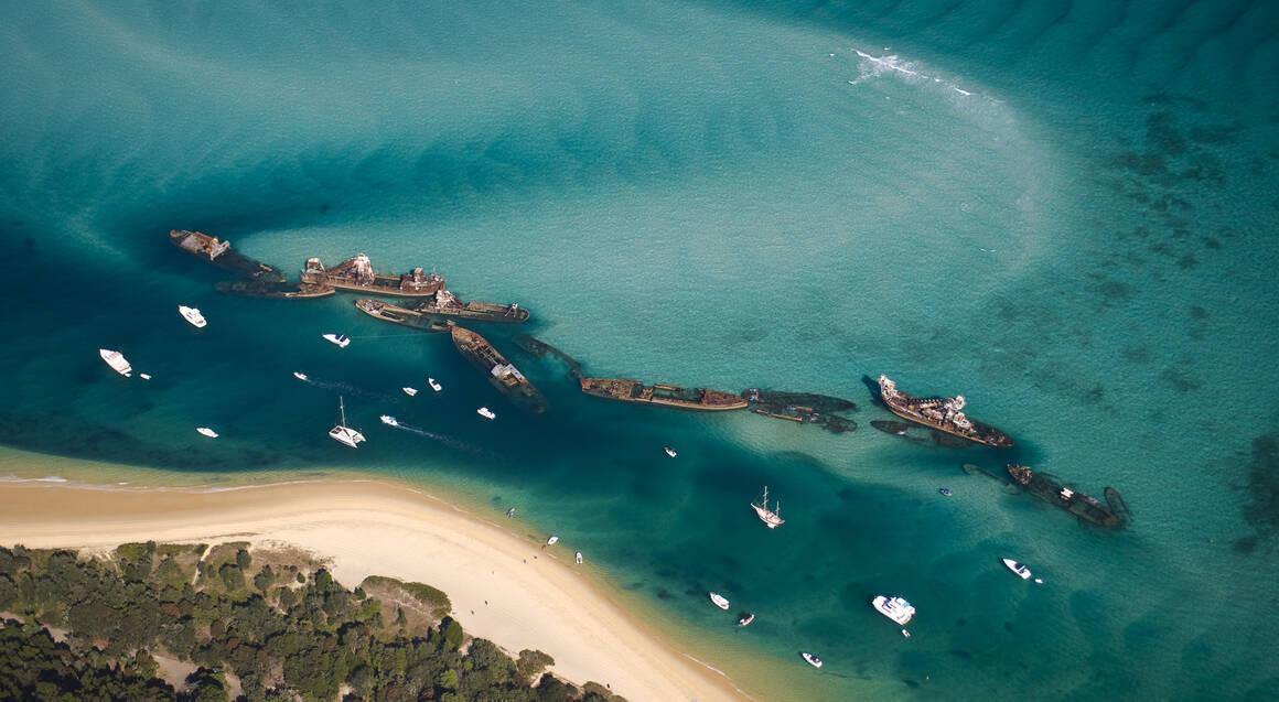 aerial view of tangalooma wrecks brisbane