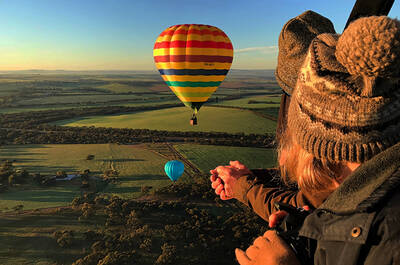 Two girls in a hot air balloon